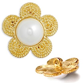 Flower Rhinestone and Pearl Button with Shank, T-5168