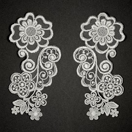 Mirror Pair Embroidery Flower Lace Applique by Pair, ROI-3904
