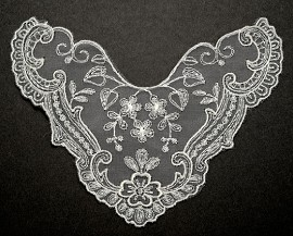Embroidery Lace Collar Applique, Bridal Applique by PC, ROI-3935