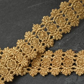 "1-1/4"" Metallic Lace Trim by Yard, LP-MX-1400"