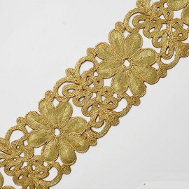 "2-7/8"" Golden Metallic Flower Lace Trim by Yard, SMB-0002"