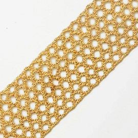 Golden Metallic Thread Lace Trim by Yard, SMB-3012