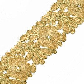 "2-3/8"" Golden Metallic Flower Lace Trim by Yard, SMB-3017"