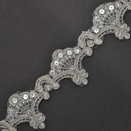 "2-1/4"" Sequin Beaded Metallic Embroidery Lace Trim by YD, TR-10737"