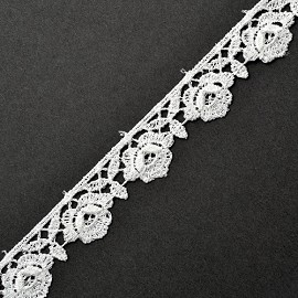 "5/8"" WHITE Venise Flower Lace Ribbon Trim by YD, ROI-4667"