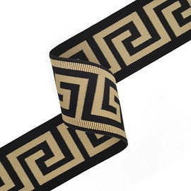 "2-3/8"" (60mm) Greek Key Elastic Stretch Ribbon Trim by Yard, TR-11001"
