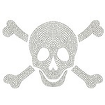 Skull Metal Rhinestuds Iron-on Motif Heat Transfer by PC, H-1830A