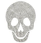 Skull Metal Stud Iron-on Motif Heat Transfer by PC, H-1832A