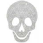 Skull Metal Rhinestuds Iron-on Motif Heat Transfer by PC, H-1832B