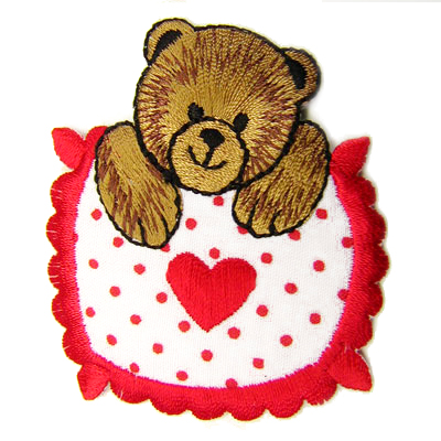 1PC~RED HEART TEDDY BEAR~IRON ON APPLIQUE PATCH