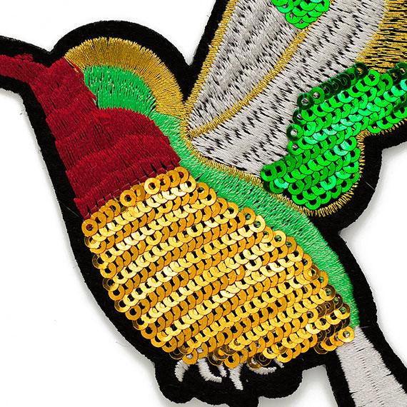 Sequins Embroidery Parrot Patch Birds Animal Decorative Patch Large Heavy Order Bead Applique 1piecet