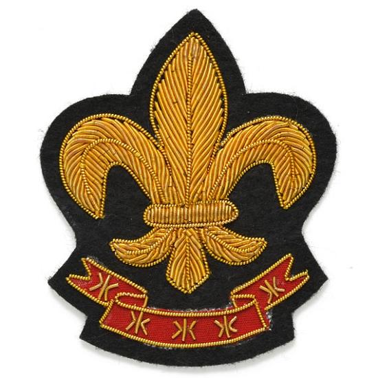 Fleur De Lis Bullion Wire Embroidered Crest Sew On Badge