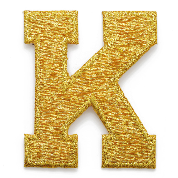 Gold alphabet letter iron on patch applique 2quot joyce for Embroidery prices per letter