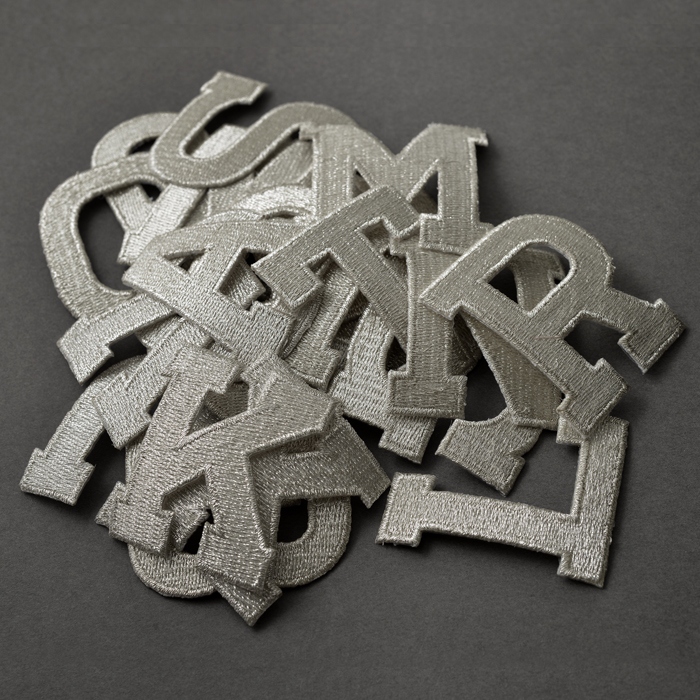 """Iron On Embroidered Applique Silver Sequin  2/"""" Letter /""""K/"""" LETTERS"""