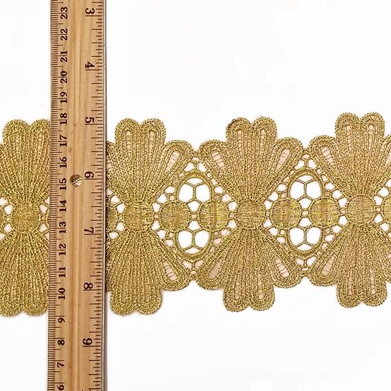 ET260-M Essential Trimmings Metallic Crochet Effect Lace Trimming