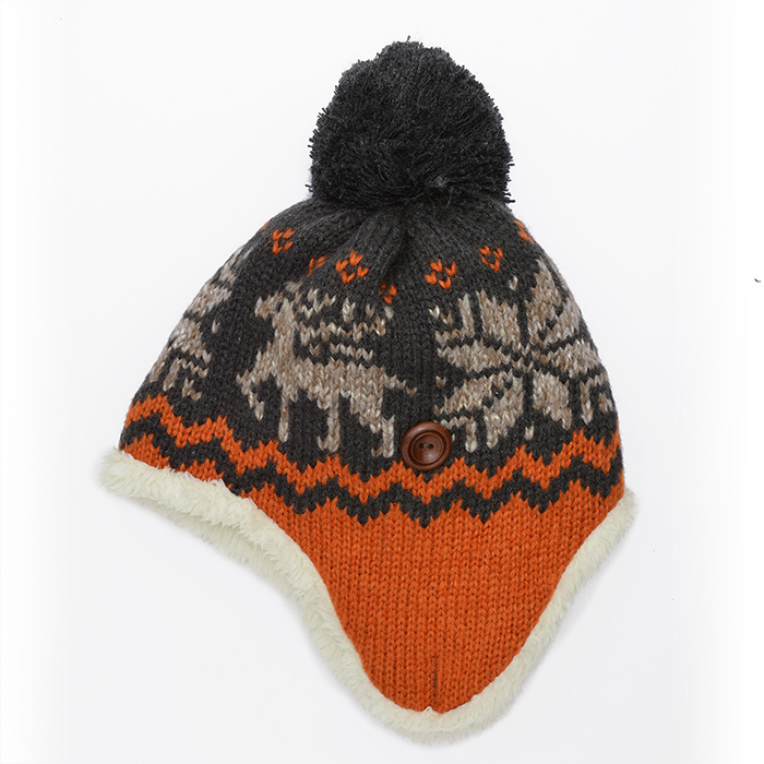 bbd245ad529d4 Winter Knit Warm Fleece Lined Pom Beanie Hat with Ear Flaps by pc
