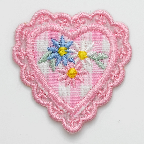 HEARTS  IRON ON PATCH APPLIQUE  1 X 7//8 inch