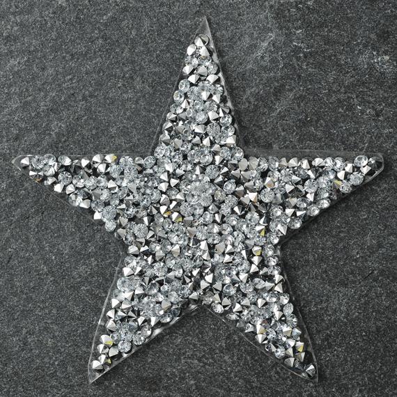 star shape rhinestone ironon applique patch tr11039