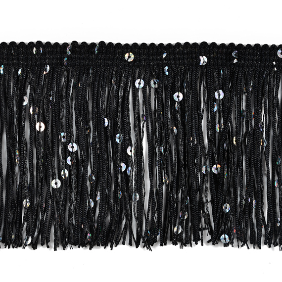 EXP-IR6675 3 Starlight Hologram Sequin WHITE Chainette Fringe Trim by YD
