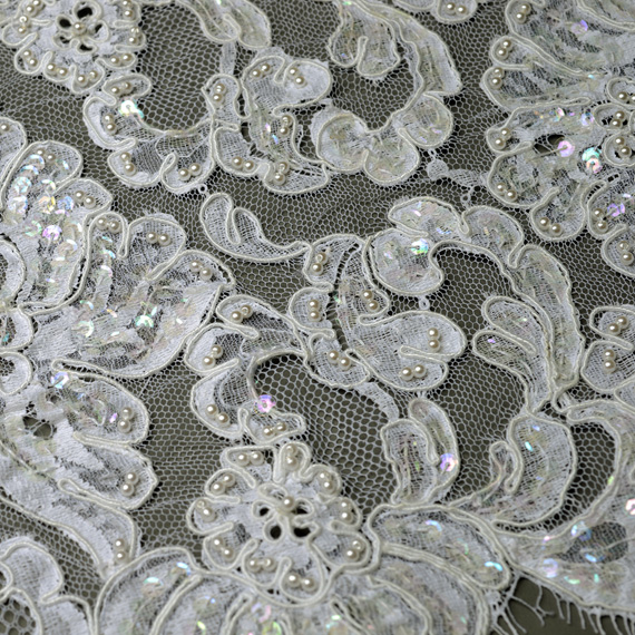 Beaded Sequin Alencon Embroidery Lace Fabric Trim 10 Joyce Trimming
