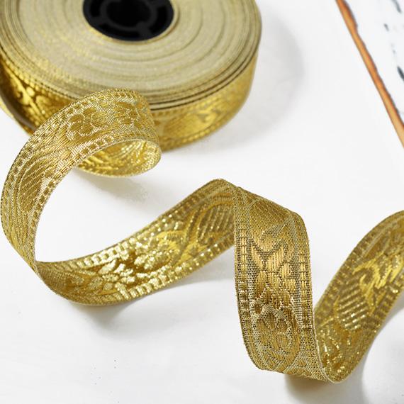 Metallic Ribbon Trim Light Gold. 10 Yards