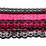 Polka dot Pleated Ribbon with Lace by YD, HDL-031
