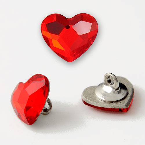 10mm Swarovski Heart Flat Back Button with Shank Back, SW-2808BT