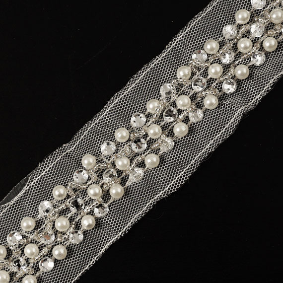 Rhinestone And Pearl Beaded Wedding Trim 7 8 Quot Joyce