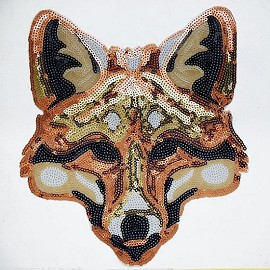 Fox Sequin Iron-On or Sew Applique Patch by PC, TR-10915