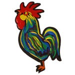 Rooster Cartoon Embroidered Sequin Iron-On Patch by PC, TR-11282