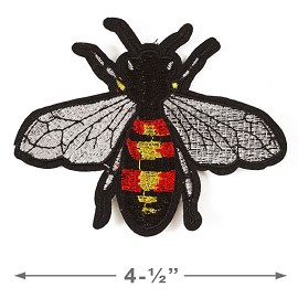 Bee Embroidered Iron-On Applique Patch by pc, TR-11309