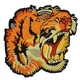 Tiger Embroidered Iron-On Applique Patch by PC, TR-11352