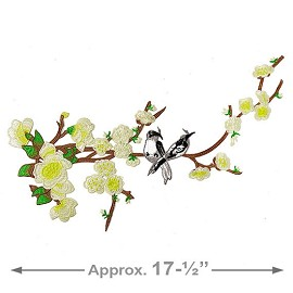 Birds on Branches Iron-On Embroidery Applique Patch by 1 PC, TR-11435