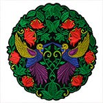 Flowers and Birds Embroidered Iron-On Patch, Embroidery Applique by pc, TR-11444