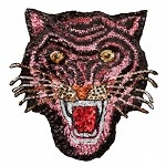 Tiger Sequin Iron-On or Sew Applique Patch by 1 PC, TR-11659