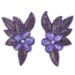 Mirror Pair Flower Beaded Sequin Applique patch, Bridal Applique by PAIR (2 PCS), FF-952B