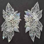 Pearl Sequin & Beaded Lace Applique, Bridal Applique Patch by PAIR (2 PCS), FF-SD1025