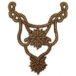Pearl & Beaded Neckline Collar Applique Patch by PC, FF-V750