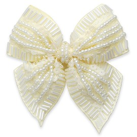 Sequin Beaded Ribbon Bow Applique Patch by PC, MAK-BDBWT35
