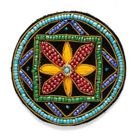 Stitch-on Beaded Applique Patch by PC, OSB-30482