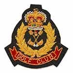 GOLF CLUB Gold Bullion Wire Embroidered Crest Applique Badges, by PC, OSB-18810