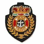 Gold Bullion Wire Embroidered Crest Applique Badges, by PC, OSB-37600