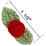 Rosebud w/Leaves Crochet Applique Patch by PC, DES-CR15