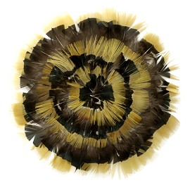 Natural Amber-Iridescent Lady Amherst Medallion Feather Pad Applique Patch by PC, TFP-PM5130AM_IRID