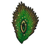 Peacock Feather Sequin Embroidered Iron-On Applique Patch by PC, TR-11471