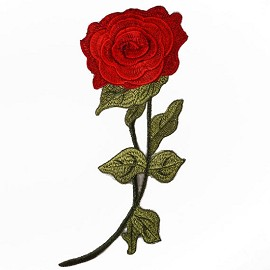 Embroidered Rose Floral Iron-On Applique Patch by PC, TR-11287
