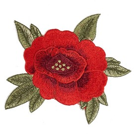 Embroidered Red Floral Iron-On Applique Patch by PC, TR-11288