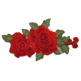 Embroidered Red Floral Iron-On Applique Patch by PC, TR-11289