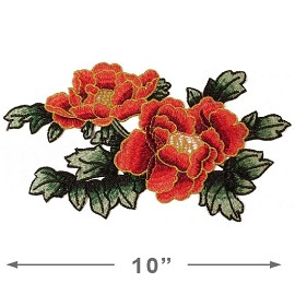 Embroidered Rose Floral Iron-On Applique Patch by PC, TR-11290
