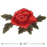 Embroidered Red Floral Iron-On Applique Patch by PC, TR-11291